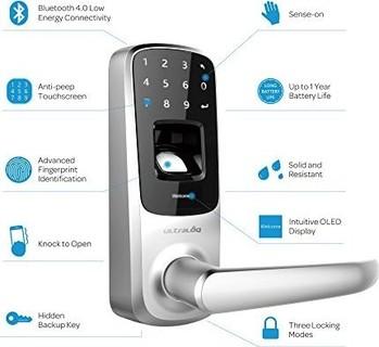 Ultraloq UL3 BT Bluetooth Enabled Fingerprint and Touchscreen Keyless Smart Lock (Satin Nickel)