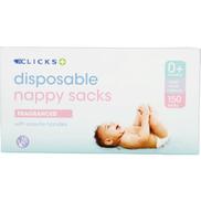 Clicks Disposable Nappy Sacks Fragranced 150 Sacks