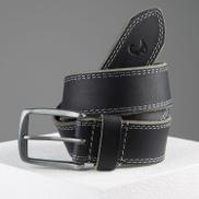 old khaki Kaleb Edge Stitch Leather Belt