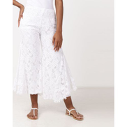 UB Creative Lined Lace Flared Pants White