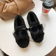 JAVING Ladies Flat Round Front Fluffy Pom Pom Ribbon Casual Shoes, Black