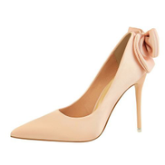 Tauntte Sexy Women Thin High Heel Stiletto Shallow Bowknot Pointed Pumps Pink
