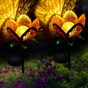 Generic 2 Pack Solar Garden Lights LED Glass Globe Flower Stakes Metal Lamp IP65 Waterproof For Lawns, Automatically Turn On When It Is Dark