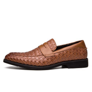 Generic Size 38-48 Plaid Pattern Formal Shoes Men Moccasins Slip On Casual Shoes Brown