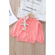 JAVING Girls Classic Cardigan With Soft Toy Bunny Brooch,Pink