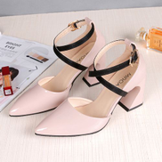 Fashion Women Shoes Stiletto High Heel Shallow Mouth Pointed Sexy High Heel Fur Patent Leather Shoes-Pink