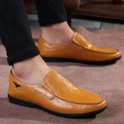 Generic Size 38-47 Men Loafers Genuine Leather Casual Moccasins Yellow