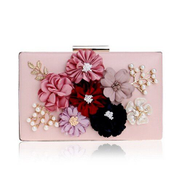 Tauntte Women Clutches Bag Day Shoulder Bag Flower Beaded Crossbody Bag Purse Pink
