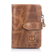 Generic Zipper Design Short Style Wallet Casual Solid Color Soft Cow Leather