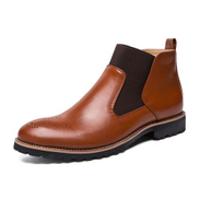 Fashion Mens Boots Big Size Dress Ankle Top Booties-Brown