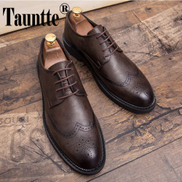 Tauntte Pig Size Men Oxfords Shoes Carved Brogue Shoes Business Formal Bullock Shoes Brown