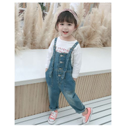 JAVING Girls Button Front Roll Up Cuff Denim Dungarees,Mid Blue Wash