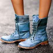 JAVING Round Toe Faux Leather Low Heel Laced Ankle Motorcycle Boots, Blue