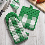 JAVING Heat Resistant Check Plaid Oven Mitts, Green White
