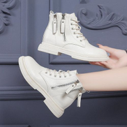 JAVING Lace Up Side Zip Detail Thick Soled Combat Boots, White