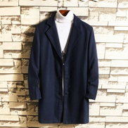 JAVING Slim Mid Length Lapel Collar Coat Polo Neck Not Included, Navy