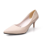 Tauntte Summer Korean Shallow High Heel Pumps Women Formal Pointed Toe Thin Heel Shoes Patent Leather Shoes For Lady Beige