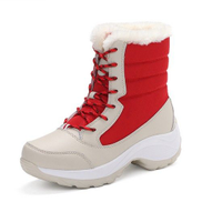 JAVING Ladies 2 Tone Waterproof Lace-up Snow Boots, Red