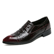 Tauntte Crocodile Pattern Formal Shoes Men Retro Casual Moccassins Red