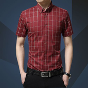 Tauntte Check Men's Shirts Short Sleeve Slim Fit Business Formal Shirts Red Wine