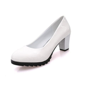 Tauntte Women Square Heels Pumps Shallow Round Toe OL High Heels Career Shoes With Platforms Matte White