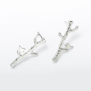 Generic Literary exquisite small and cute golden branches bird earrings Ladies Gift