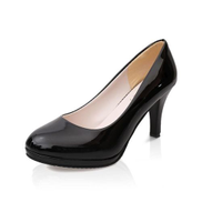 Tauntte Women OL Shallow Thin Heels Pumps Round Toe High Heels Office Formal Shoes With Platform For Lady Matte Black