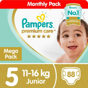 Pampers Premium Care - Size 5 Mega Pack - 88 Nappies