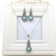 Generic Classic Retro Turquoise Beaded Blue Crystal Pendant Necklace Earrings Set
