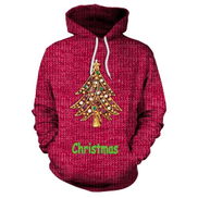 Generic SALE Long-sleeved Hooded Pullover Sweaters with Christmas Tree Print for Women red